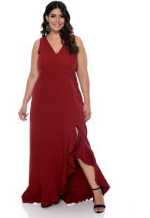 Vestido Forma Rara De Festa Plus Size Com Fenda Bordã´ - Vinho - Feminino - Dafiti
