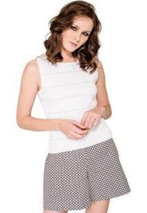 Cropped Bandagem Viviane Furrier Feminino - Feminino-Branco