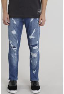 Calça Jeans Masculina Carrot Destroyed Azul Médio