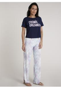 """Pijama Feminino """"Cosmic Dreamer"""" Estampado De Planetas Manga Curta Azul Marinho"""