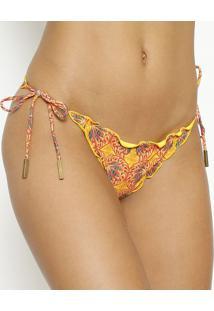 Calcinha Tanga Abstrata Com Franzido- Amarela & Vermelhavix
