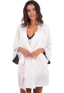 Robe Inspirate Curto De Cetim Off White