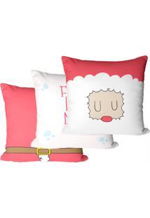 Kit 3 Capas Para Almofadas Decorativas Feliz Natal 35X35Cm - Vermelho - Dafiti