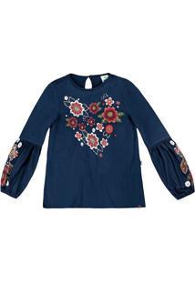 Blusa Com Bordado- Azul Marinho & Vermelhapuc
