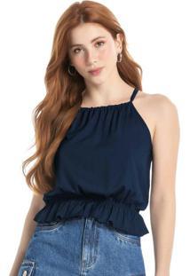 Blusa Azul Marinho Com Franzido Em Viscose