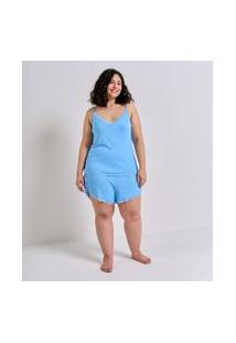 Pijama Regata De Alcinha Com Renda Curve & Plus Size | Ashua Curve E Plus Size | Azul | Eg