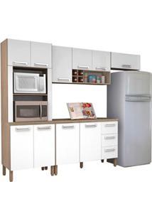 Cozinha Modulada Ametista 5 Módulos Composição 4 Nogal/Branco - Kit'S