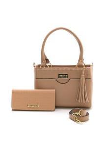 Bolsa Feminina Com Carteira Santorini Handbag Nude