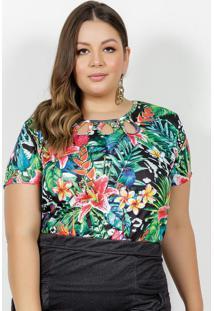 Blusa Tropical Com Vazados No Decote Plus Size