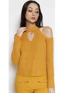 Blusa Tricã´ Com Recortes- Amarelala Chocolãª