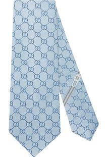 Gucci Gravata De Seda Com Padronagem Gg - Azul