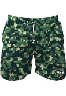 Short Tactel Maromba Fight Wear Camuflado Pixels Com Bolsos Masculino - Masculino-Verde
