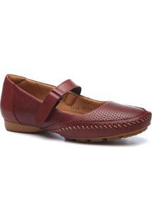 Mocassim Couro Doctor Shoes 2779 Feminino - Feminino-Vinho