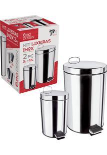 Conjunto De Lixeiras Inox Com Pedal 2 Peças 3 E 12 Litros - Euro Home - Inox