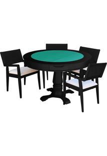 Mesa De Jogos Carteado Victoria Redonda Tampo Reversível Preto Com 4 Cadeiras Megan Linho Bege - Gran Belo