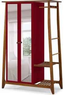 Guarda-Roupa Solteiro Stoka Com Espelho 2 Pt Nogal E Bordô
