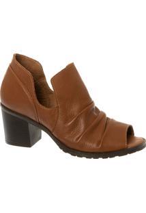 Ankle Boot Em Couro Caramelo Com Salto Bloco