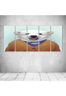 Quadro Decorativo - Human Funny Urso Polar - Composto De 5 Quadros - Multicolorido - Dafiti