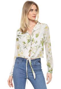 Camisa Cropped Dimy Amarração Off-White