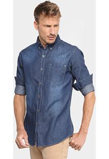 Camisa Jeans Broken Rules Com Bolso Masculina - Masculino-Marinho