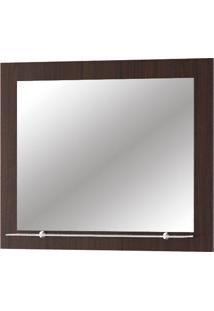Espelho Para Banheiro Com 1 Prateleira Barcelona - Mgm - Castanho