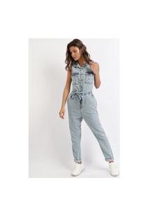 Macacão Jeans Feminino Com Botões E Faixa Para Amarrar Azul