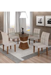 Conjunto De Mesa De Jantar Com 4 Cadeiras Vitória Suede Chocolate E Cinza