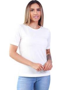 T-Shirt Modal Gola Careca Magnolia Off Talco - Feminino-Off White