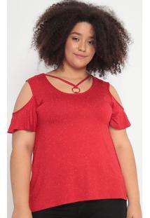 Blusa Com Ombros Vazados- Vermelha & Branca- Malweemalwee