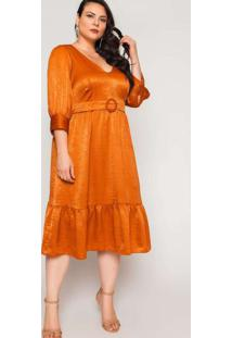 Vestido Almaria Plus Size Pianeta Chiffon Devorê M
