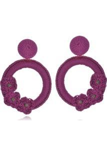 Brinco Le Diamond Liza Croch㪠Com 3 Flores Lilã¡S - Roxo - Feminino - Dafiti
