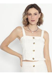 Blusa Cropped Com Bordados- Off White- Shirley Dantashirley Dantas