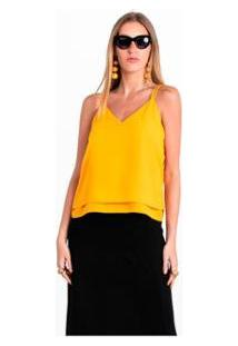 Regata Basica Wool Line Feminina - Feminino-Amarelo