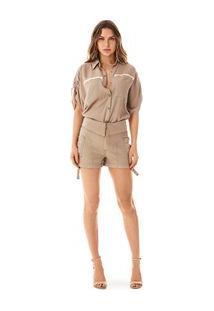Shorts Comfort Bolso Utilitario Dourado