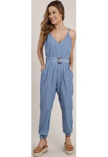 Macacão Jeans Feminino Jogger Com Cinto Alça Fina Azul Médio
