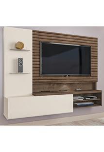 Painel Para Tv Até 55 Polegadas Lugano 1 Porta Flex Natura Off White/3D Mocaccino Rústico - Atualle Móveis
