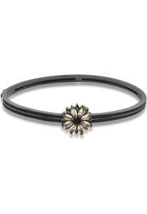 Bracelete Flor Com Zircônias Morganita Folheado A Ródio Negro
