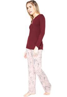 Pijama Cor Com Amor Estampado Vinho/Rosa