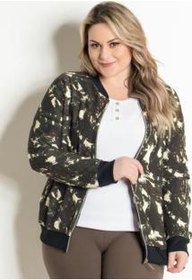 Jaqueta Bomber Camuflada Plus Size Marguerite