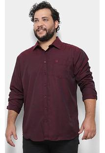 Camisa Social Delkor Plus Size Masculina - Masculino-Vinho