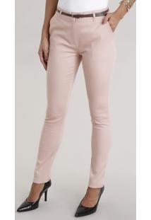 Calça Skinny Em Piquet Rosê