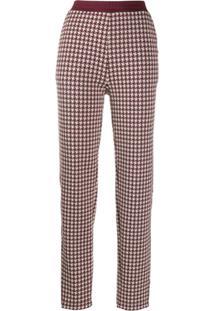 Rag & Bone Houndstooth Print Trousers - Vermelho