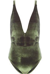 Maiô Decote V Velvet - Verde