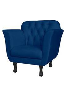 Poltrona Decorativa Helena Pés Luis Xv Suede Azul Marinho - Ds Estofados