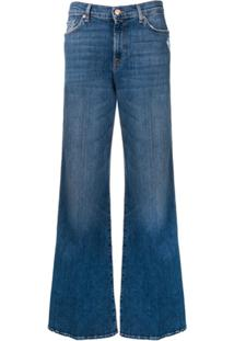 7 For All Mankind Faded Wide-Leg Jeans - Azul
