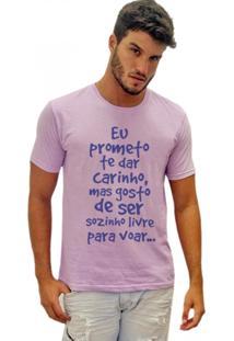 Camiseta Joss Estonada Eu Prometo Te Dar Carinho Lilás