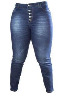 Calça Jeans Skinny Plus Size Botões Besni Feminina - Feminino-Azul+Off White