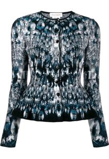 Alexander Mcqueen Abstract Pattern Knitted Peplum Cardigan - Azul