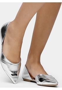 Sapatilha Shoestock Semi Aberta Bico Fino Safiano - Feminino-Prata