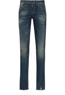 Saint Laurent Calça Jeans Reta Cintura Baixa - Azul